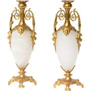 Pair of 19th Century French Gilt Spelter and Alabaster Candlesticks