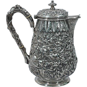 Antique Sterling Silver Repousse Coffeepot by Caldwell of Philadelphia