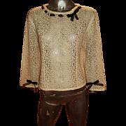 Vintage 1970 Chanel Paris Mohair loop Sweater Top Voile Kitten Bow Monogram Button