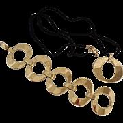 Christian Dior Links Necklace /Bracelet Set Gold Plated Signed 1980