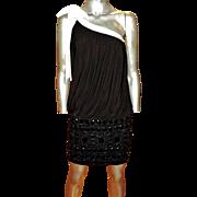 Jovani One Shoulder Draped Beaded Mini Dress white Trim Bow