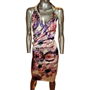 Vintage Versace Grecian Draped Silk Dress Tie Dyed Wild Flowers Metal Medusa