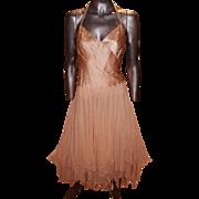 Vintage Silk Ballerina Pink Halter High Low Petal Dress Pleated Bodice