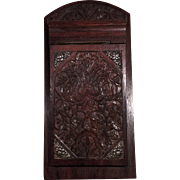 Superb 1920's Silver Inlay Java Wood Carving