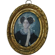 19th Century American Portrait Miniature on Ivory of a Lady with Bonnet