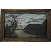 19th Century Oil on Board Naive Folk Art Hudson River Landscape Painting