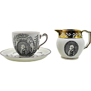 Gray's Pottery Lustreware Cup, Saucer & Creamer Honoring George Washington