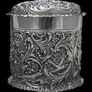 Art Nouveau Sterling Silver Dresser Jar, Dog, Bird & Cherub Motifs Circa 1895