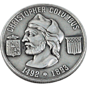 Sterling Silver Columbian Exposition Christopher Columbus Coin with Compartment