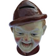 St Clemons Majolica Bank - Man's Head