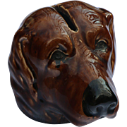 Dog Head Majolica Bank