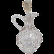 SALE Vintage Clear Crystal Glass Bullseye Pattern Vinegar Cruet with Stopper