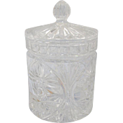 SOLD Vintage Clear Crystal Glass Covered Candy Dish from 1930's Made in Slovakia