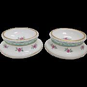 SALE Antique 19th Century Pair of KPM Hand Painted Floral Porcelain Open Salt & Pepper Cellar
