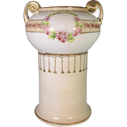SALE Imperial Nippon Marked Hand Painted Pedestal Vase Floral Top Tan Base