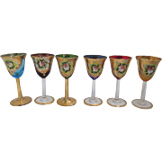 SALE Vintage Venetian 6-piece Murano Italian Cordial or Wine Glasses with Floral Enamel