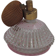 SALE Vintage DeVilbiss USA Striped Dotted Pale Pink Glass Perfume Cologne Atomizer