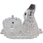 SALE Fostoria American Crystal Glass Set of 3 Pieces: Tray, Bowl, and Cruet