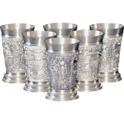 SALE Set of Six Rare Vintage Rein-Zinn Detailed Pewter Cordial Shot Glasses with Exceptional .