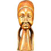 REDUCED Vintage  Hand Carved Female Bust in Jamaican Dog Wood