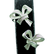 SALE Silvertone Bow Clip Earrings by Trifari