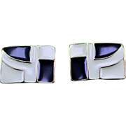 SALE Trifari Rectangular Earrings in Black & Ivory Enamel with Goldtone Accents