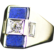 Antique European Diamond, Lapis and White Gold Ring