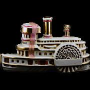 "REDUCED Ezra Brooks Kentucky Bourbon Whisky Steamboat ""Delta Belle"" Heritage China"