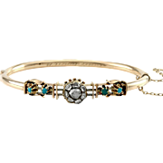 Victorian Rose Cut Diamond & Turquoise Bangle in 14K Rose Gold