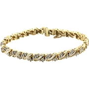 Diamond Cluster Tennis Bracelet in High Polished 14K Yellow Gold