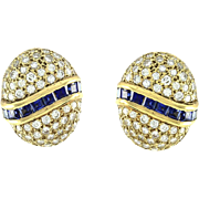 Genuine Sapphire & Diamond Pave' Button Earrings 14K Yellow Gold