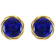 High Polished Lapis Lazuli Button Earrings in 14K Yellow Gold