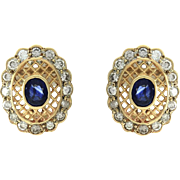 Genuine Sapphire & Diamond Button Earrings with Lattice Details in 14K Yellow Gold