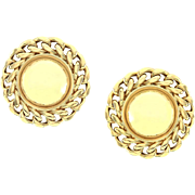 High Polished Button Earrings with Chain Details in 18K Yellow Gold