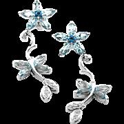 Blue Topaz & Diamond Butterfly Twirl Link Earrings in 14K White Gold