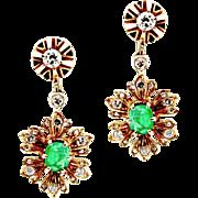 Antique Edwardian Emerald & Diamond Flower Non-Pierced Screw Back Earrings in 14K Yellow Gold