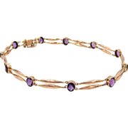 Antique Victorian Amethyst 14 Karat Rose Gold Choker Necklace