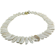 White Freshwater Biwa Pearl Necklace with 18K Yellow Gold Clasp
