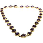 Amethyst Station Necklace in High Polished 14K Yellow Gold