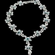 Blue Topaz & Diamond Butterfly Twirl Link Necklace in 14K White Gold