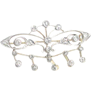 Antique Victorian 14 Karat Yellow Gold, Platinum & Diamonds en Tremblant Butterfly Brooch