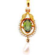 Antique Late Victorian Peridot & Seed Pearl Lavalliere Pendant set in 10K Gold