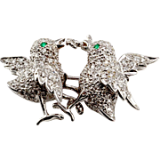 "Pave' Diamond & Emerald ""Birds and the Worm"" Pin/ Brooch/ Pendant in 14K White Gold"