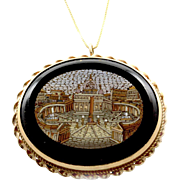Antique Micromosaic of St. Peter's Basilica in Vatican City with 14K Yellow Gold Frame