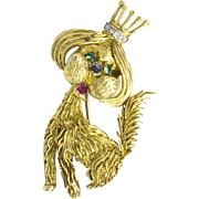 "Art Deco Emerald, Sapphire, Ruby & Diamond ""Royal Pooch"" Dog w/ Crown in 18K Yellow"