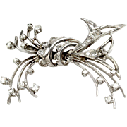 Vintage Diamond Spray Bow Pin/ Brooch in 14K White Gold