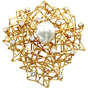 Signed Designer BORIS LEBEAU Diamond Bird Nest Brooch/ Pendant with South Sea Pearl in 18K ...