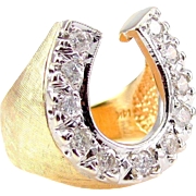 Vintage Two Tone Textured Men's Diamond Horseshoe Ring in 14K Gold