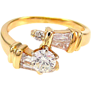 Vintage Round & Baguette Diamond Bypass Ring 14K Gold