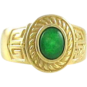 22 Karat Yellow Gold Imperial Jadeite Jade Type A Gents ring